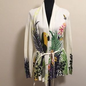 Anthropologie Moth Tropical Parrot Cardigan XL